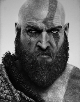 Kratos - God of War Pencil Portrait by TricepTerry