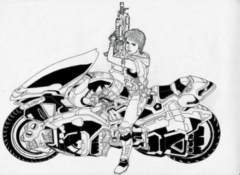 girl with a weapon on motocycl by taiyosagawa