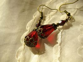 Garnet red Victorian-inspired earrings by ProfessorBats