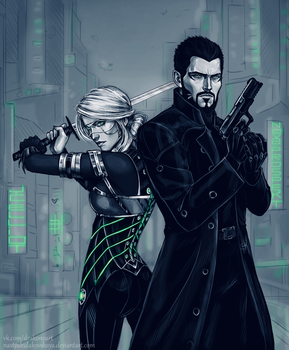 Ciri and Adam Jensen by NastyaSkaya