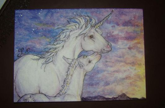 Unicorn Mother and foal ACEO by landipan