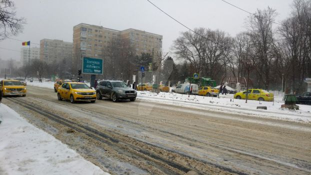 Bucharest streets in full blizzard by ice4you