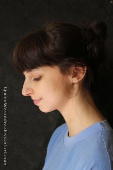 Portrait looking down profile stock I by QueenWerandra
