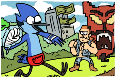 Regular Show Mordecai and Rigby in 8-Bit Land by theEyZmaster