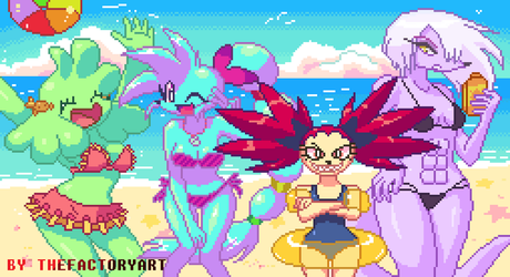 Girls at the beach - pixelart by TheFactoryArt