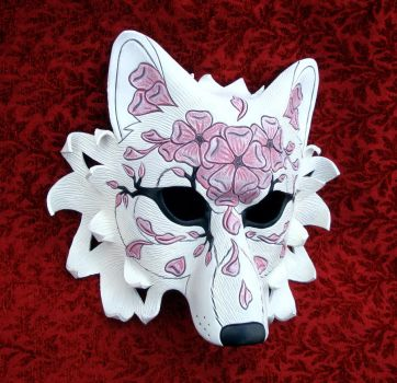 Cherry Blossom Wolf Mask #1 by merimask