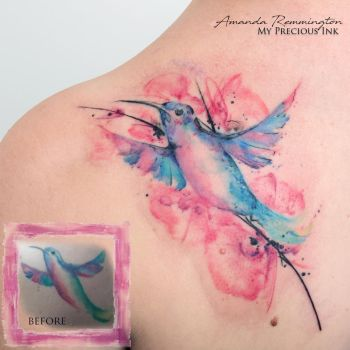 Freehand watercolor cover up humming bird tattoo by Mentjuh