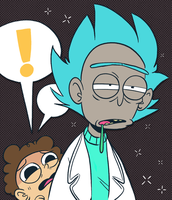 Space Grandpa and Concerned Child by ecokitty