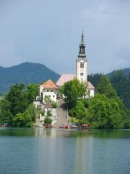 Church on the island in the Bled's lake 2 by Moriquesse