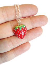 Sparkly Strawberry Necklace by KawaiiCulture