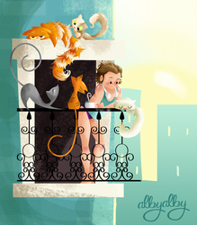 Morning with cats by ALBY-LePetiteDreamer