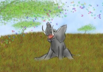 Cute Elephant with Butterflies by The-Imperfect