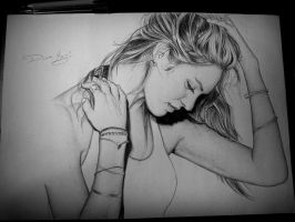 Candice swanepoel pen drawing by staceyElmoro