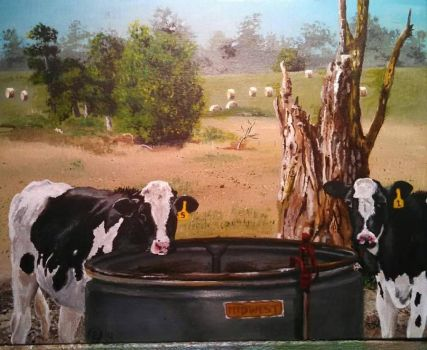 Having a Drink at the Local Watering Hole,11x14  by evopics