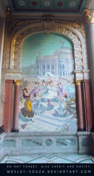 Ballet scene on a theater wall by Wesley-Souza