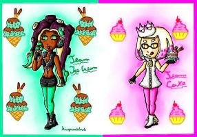 Splatfest cake vs ice cream by ninpeachlover