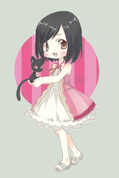a chibi with a little cat XD by Sei00