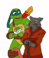 TMNT: 2k3 Meets 2k12 Leo + Splinter by xero87