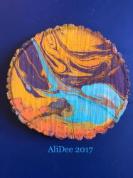 Marble Spray Paint on Wood Slice by AliDee33