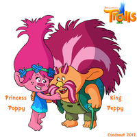 Trolls - Princess Poppy and King Peppy in SE style by Csodaaut
