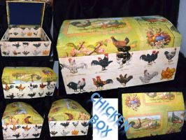 Wooden box decoupage roosters and hens by Soulren
