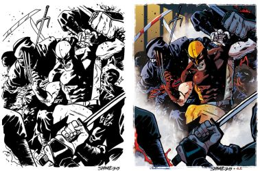 Wolverine vs Ninja squad by Lincelots