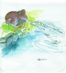 Byoudou-in spitting frog by monking