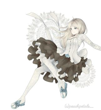 Character design white dress by peach-petals