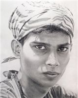 Pencil drawing: *Bandana Boy* by Denish-C
