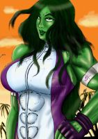 She-Hulk line art in Color!! by Bfetish