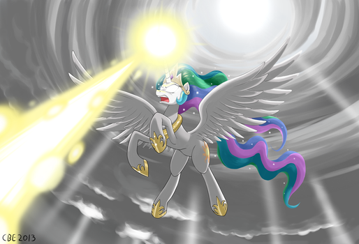 CELESTIA BEEEEEEEEEAAAM by CrimsonBugEye