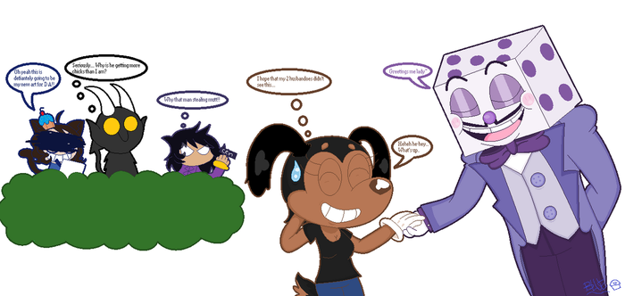 Cuphead Request 4/5 Sally encountering King Dice by Bluecupcake01