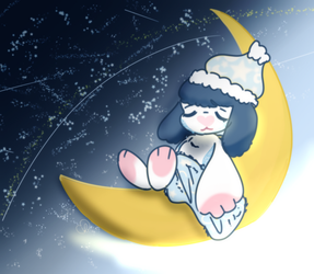 sleepy time moon by kitkatbun