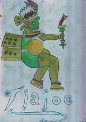 Tlaloc in Watercolors by Amaterasu-Omikami