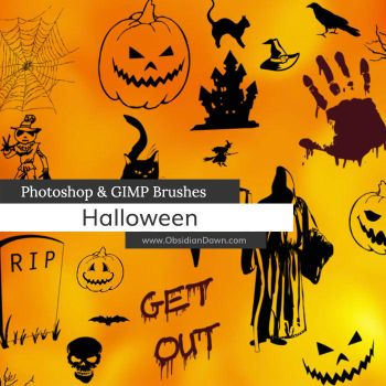 Halloween Vectors Photoshop and GIMP Brushes by redheadstock