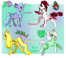 Flower Ponies, CLOSED by HoneyBonnieBunny