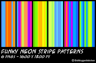 Funky Neon Stripe Patterns by Bulldoggenliebchen