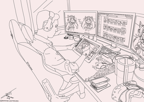 A Drawing of Myself drawing (Lineart / WIP) by TheLukrie