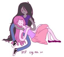 Marceline and PB Cuddle Time by SangoChan56