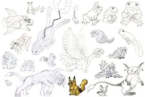 Realistic Pokemon sketch dump by ShikaTheFox