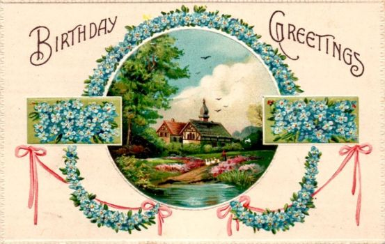 Birthday Forget-Me-Nots Greetings by Yesterdays-Paper