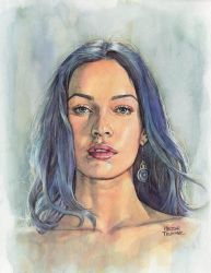 Megan Fox watercolor by Trunnec