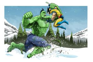 Hulk vs. Wolverine by Kminor