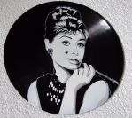 Audrey Hepburn stencil on vinyl record by vantidus