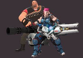 Heavy and Zarya by WOLFBLADE111