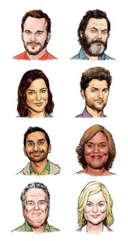 Parks and Rec heads by Laemeur