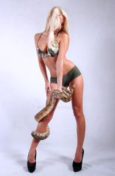 Blond Model with snake by Aszap