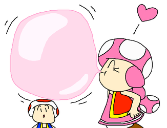 Toad Watching Toadette Blow a Big Bubble Gum by PokeGirlRULES