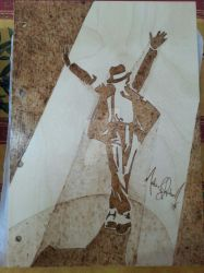 Wooden copybook front - Michael Jackson pyrography by CPSCorporation