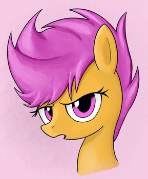 Scootaloo portrait (coloring) by GreenPrickle